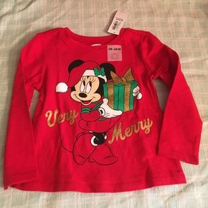 Minnie Mouse Christmas shirt-NEW-18 months